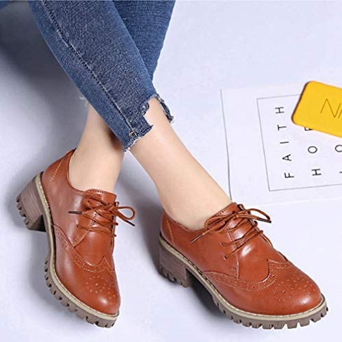 Leather PU Lace Flat Women's up Perforated Oxford Brown Wingtip Vintage Shoes Oxfords Z4006wYq1