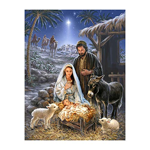 Bullker 11.8 x 15.7 Inch DIY 5D Diamond Painting Kits for Adults Nativity Jesus Full Drill Embroidery Paintings Rhinestone for Home Wall Decor - W305