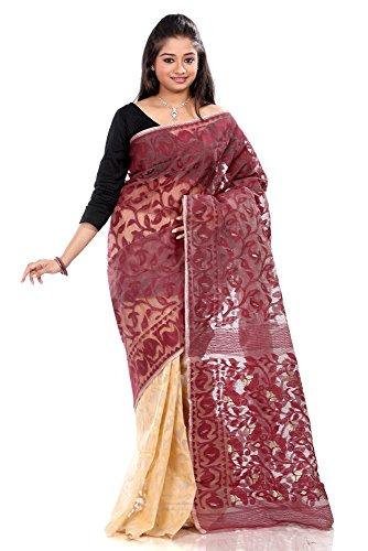 Di N Pura Dhakai Tradizionale Artigianali Metà Di Jamdani Mezzo B3fashion Seta Cotone Sari qO6npPan