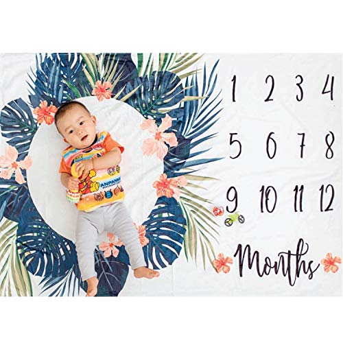 Premium Minky Fleece Monthly Baby Milestone Photo Prop Blanket| Thick Wrinkle & Fade Resistant|Best Baby Shower Gift. Perfect Way to Take Trendy Floral Infant & Newborn Photographs| 60'' X 40'' by Totminds (Image #9)