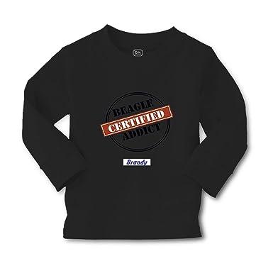10f0ee918 Personalized Custom Beagle Certified Addict Long Sleeve Crewneck Toddler  Boys-Girls Cotton T-Shirt