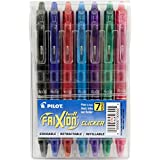 Pilot FriXion Clicker Retractable Erasable Gel Pens, Fine Point, Assorted Color Inks, 7-Pack (31472)
