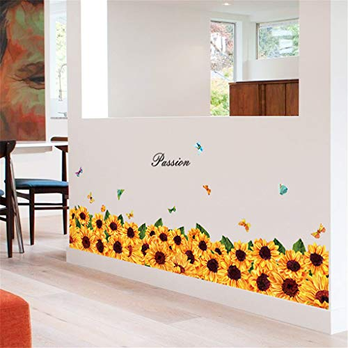 Passion Sun Flower Sunflower Baseboard Wall Sticker - GorNorriss New Mobile Creative Wall Affixed with Decorative Wall Window Decoration (Sunflower Stickers Wall)