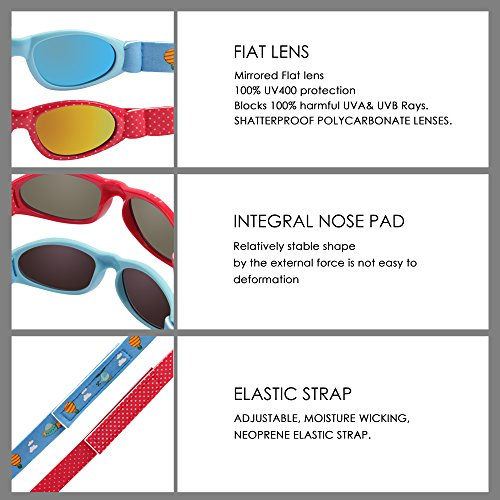 Baby Navigator Sunglasses with UV400 Lens and Adjustable Neoprene Straps & Exciting colors Age: 0-12months. (Strawberry Red with Red Revo) by COCOSAND (Image #4)