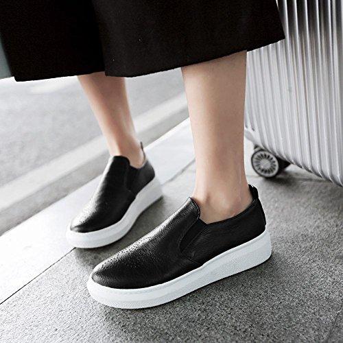 Latasa Damesmode Platform Slip Op Skate Schoenen, Comfort Loafers Zwart