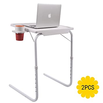 NEW SMART FOLDING TABLE AS SEEN ON TV PORTABLE ADJUSTABLE DINNER TRAY CUP HOLDER HOME