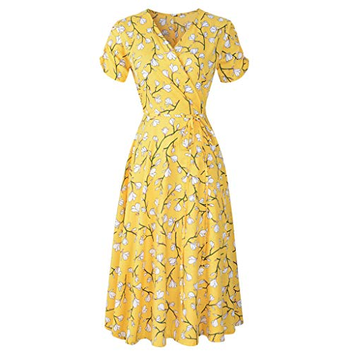 MURTIAL Women's Dress V Ne Holiday Floral Print Dress Ladies Short Sleeve Beach Party Dress(Yellow,L) (Florals Faux Holiday)
