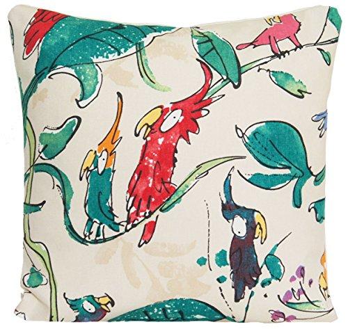 (Parrots Accent Pillow Case Comical Birds Cushion Cover Osborne & Little Fabric Creme Cockatoos )