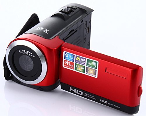 Camera Camcorder, Fosa HD 1080P Max.16.0 Megapixels 1280720P DV Handy Camera, Digital Video Camcorder 16X Zoom with 2.7″ LCD and 270 Degree Rotation Screen(Red)