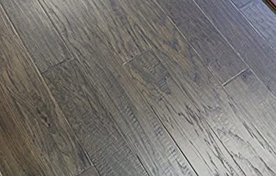 "Elk Mountain Hickory Grey Smoke 3/8 x 5"" Hand Scraped Engineered Hardwood Flooring SAMPLE"