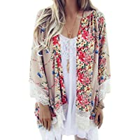 Relipop Blusa holgada de chifón puro para mujer. Kimono con diseño floral