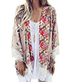 #2: Relipop Women's Sheer Chiffon Blouse Loose Tops Kimono Floral Print Cardigan