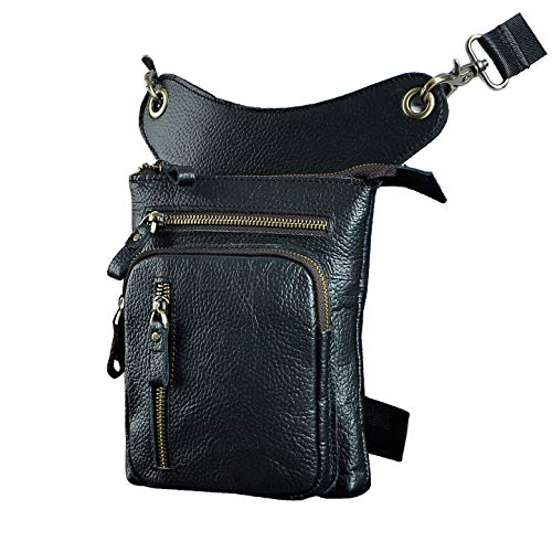 Le'aokuu Mens Genuine Leather Motorcycle Waist Pack Drop Leg Cross Over Bag (The 211-11 black)