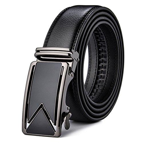 NEW Cowhide Belts For Men Luxury Automatic Buckle Belts Brown Black Cinturones Hombre B55 (Belted Cowhide Belt)