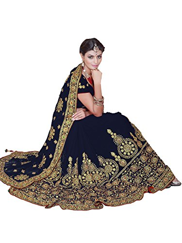Wedding Bridal Saree Mirchi Fashion Sari for Women Party Wear (3805_Navy Blue)