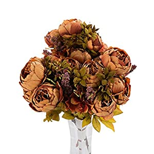 Vibola® 3 Bouquet 24 Heads Artificial Flowers Silk flower European Fall Vivid Peony Fake Leaf Wedding Home Party Decoration 2017 (The vases are not included.) 24
