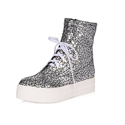 AmoonyFashion Womens Round-Toe Closed-Toe Kitten-Heels Boots With Slipping Sole and Heighten Inside Silver 93WZTL06T