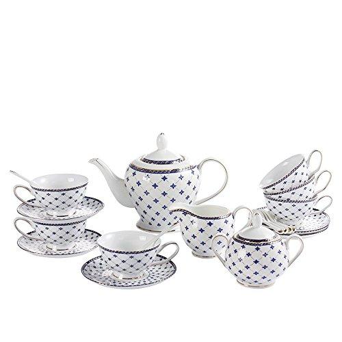 Teapot Teacups Porcelain Set Tea - Porlien Exquisite Porcelain Gold Trimmed Royal Blue 17-piece Tea Set Teacup & Saucer Set Service for 6, with Teapot Creamer Pitcher Sugar Bowl Teaspoons for Tea/Coffee