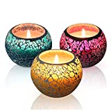 Scented Candles Gift Set, U2C Handmade 3 x 4.4 Oz 100% Natural Soy Glass Candles, Set of 3: Lavender, Rose and Lemon Travel Candle, Use for Aromatherapy, Weddings, Christmas Gift Candles (3 Pack)