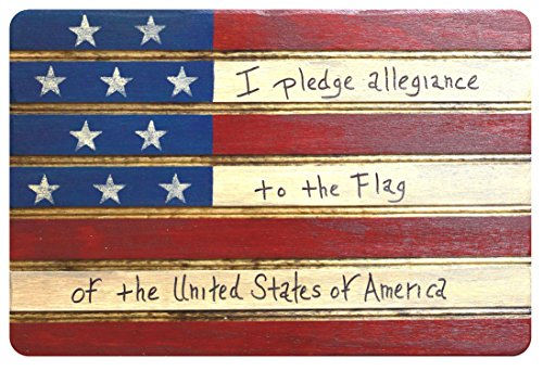 'I Pledge Allegiance to the Flag' Americana American Flag Sign Wooden Wall Decor. Perfect for any Nostalgic Americana Collection and Rustic Decor. Hand Made in the Heart of America. Made in USA
