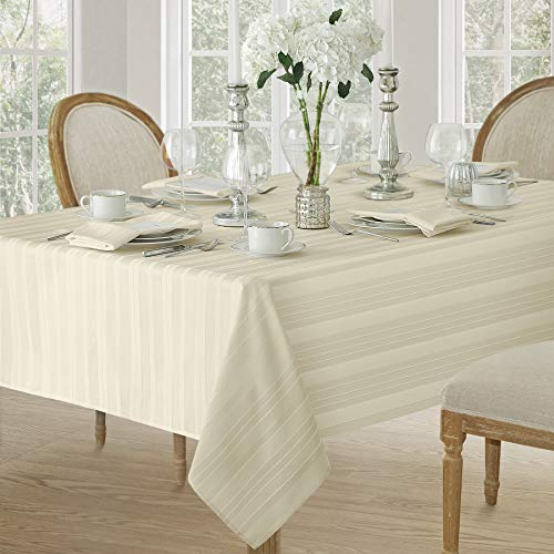 Newbridge Satin Stripe Weave No-Iron Soil Resistant Fabric Tablecloths (60