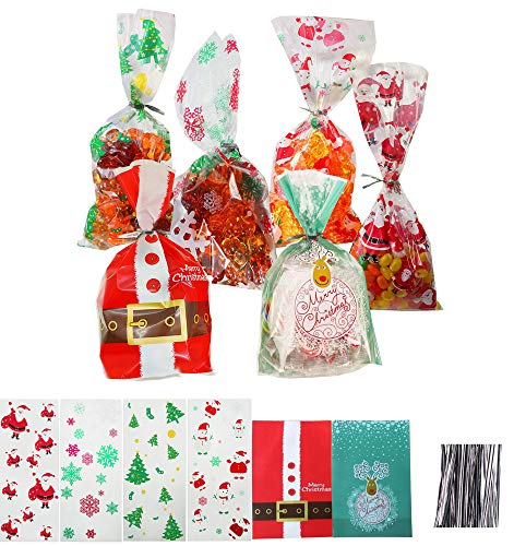 180 Pcs Christmas Cellophane Bags with tie, Snowman snowflake Candy Treat Cookies Bag for Party Holiday (Including 200 Pcs Twist Ties)