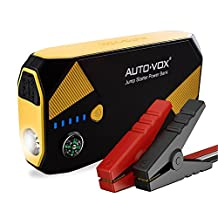 AUTO-VOX Portable Car Battery Booster Jump starter 14000mAh 500A Peak (Up to 5L Gas and 2L Diesel Engine) Emergency Kit Booster Power Pack with Compass LED Lights & Multiple Slots