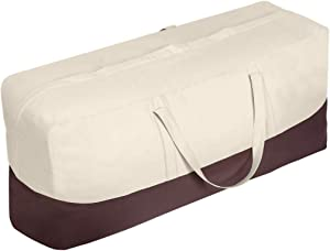 Vailge Patio Cushion/Cover Storage Bag Waterproof Outdoor Patio Furniture Seat Rectanglar Cushions Storage Bag , Zippered Protective Patio Cover Carrying Bag with Handles - Oversized,Beige & Brown