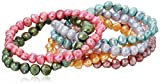 Dyed Spring Rainbow Freshwater Cultured Pearl 7 Piece Stretch Bracelet Jewelry Set