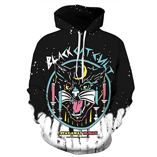 Halloween Costumes 3D Hoodies Black Cat Print Long Sleeve Sweatshirts -