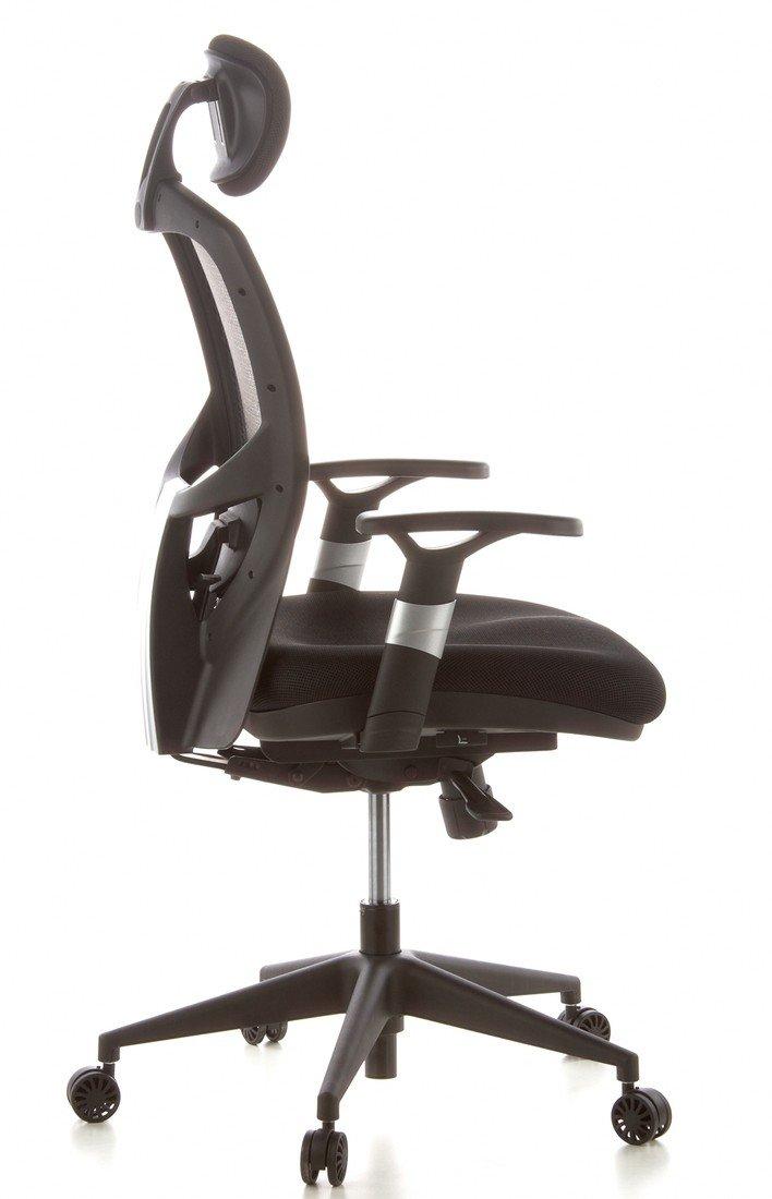 hjh OFFICE 657130 silla de oficina VENUS BASE asiento tejido / respaldo malla gris / negro silla ergonómica: Amazon.es: Hogar