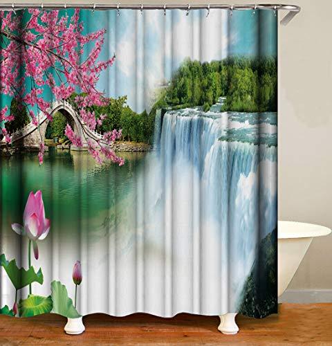 Garden Shower Curtain Decor Pink Peach Flower Lotus Waterfall Stone Arch Bridge Green Trees Spring Park Landscape Fabric Bathroom Curtains,Waterproof Polyester Bath Curtain Set with Hooks 70x70 Inch