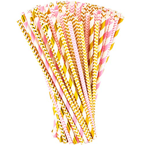 Paper Straws 200 Pack Biodegradable Gold and Pink Striped Design 8.25