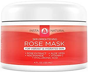 InstaNatural Facial Rose Mask – With Vitamin C, Hyaluronic Acid, Niacinamide, Aloe Vera & More - Best Skin Brightening & Moisturizing Blend for Face - Made With Fresh Rose Petal Extract - 120 ml