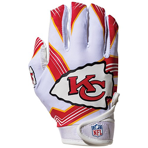 NFL Kansas City Chiefs Youth Receiver Gloves,White,Medium - Kansas City Chiefs Glove