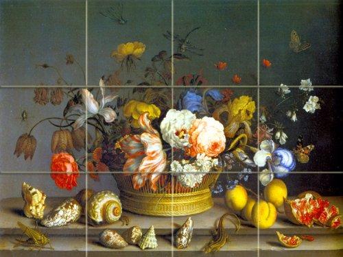 FlekmanArt Basket of Flowers by Van der AST,Balthasar - Modern Around 1600 - Old Masters Art Ceramic Tile Mural 24