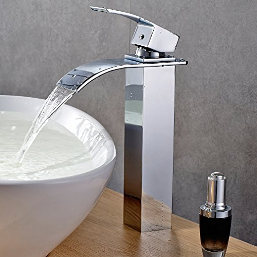 Waterfall Square Faucet Bathroom Vessel (ROVATE Bathroom Waterfall Vessel Sink Faucet, Single Hole Single Handle Vanity Faucet Polished Chrome)