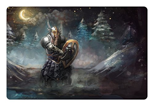 Ambesonne Fantasy Pet Mat for Food and Water, Artistic Illustration of Medival Dwarf Knight in Gothic Shield in Mysterious Forest, Rectangle Non-Slip Rubber Mat for Dogs and Cats, (Gothic Shield)