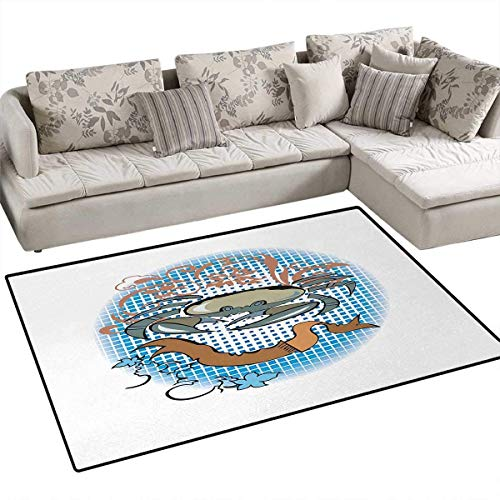 Crabs,Carpet,Cancer Sign in Cartoon Tattoo Style Astrological Theme with Floral Details Horoscope,Print Area Rug,Multicolor,55
