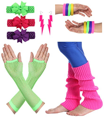 JustinCostume Women's 80s Outfit accessories Neon Earrings Leg Warmers Gloves, D