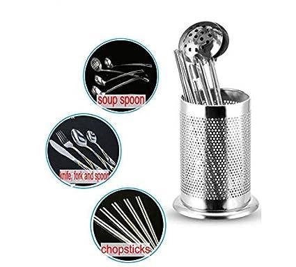 acero inoxidable utensilios de cocina Uotyle Soporte redondo para utensilios de cocina utensilios de cocina para utensilios de cocina tenedor de cubiertos Intensive holes utensilios de cocina