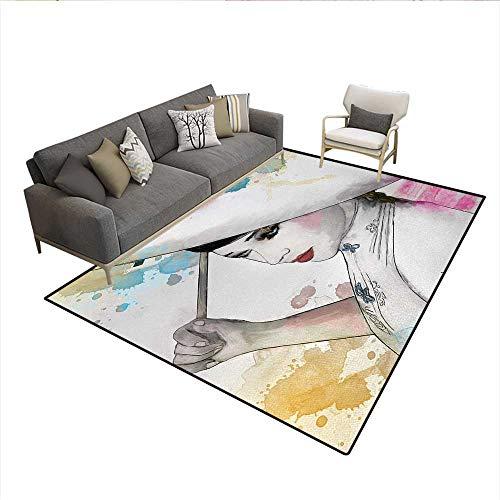7' Oriental Umbrella - Floor Mat,Eastern Woman Girl with Oriental Umbrella Drawing with Watercolor and Brushstrokes,3D Printing Area Rug,MulticolorSize:6'x7'