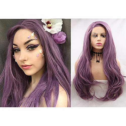 Evereya Purple Lace Front Wigs Natural Looking Long Wavy Hair Beautiful Color Wig For Women Side Part Glueless Soft…