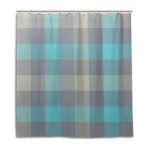 (Amanda Billy Light Blue Plaid Stripes Natural Home Shower Curtain, Beaded Ring, Shower Curtain 72 x 72 Inches, Modern Decorative Waterproof Bathroom Curtains )