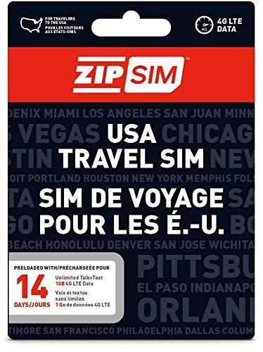 ZIP SIM Prepaid USA SIM For Travelers TALK+TEXT+DATA 14 Days Plan(Universal : Standard, Micro, Nano SIM) ()