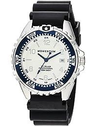 Momentum Women's Stainless Steel Japanese-Quartz Diving Watch with Rubber Strap, Black, 17 (Model: 1M-DN11LU1B)