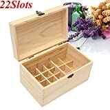 KINGSO Wooden Essential Oil Box Case Wooden Oil Storage Container Pine Box Holds 22 Slots total Large Organizer Best For Travel Display Cosmetics and Presentations
