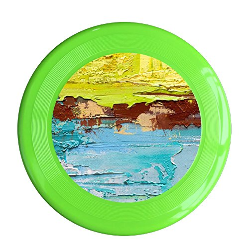 (Skkoka Frisbee Abstract Art Background Oil Painting On Canvas Green And Yellow Frisbee Family Fun Group Game Variety Of Colors Durable Frisbee KellyGreen)