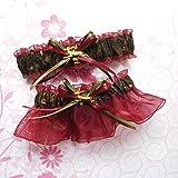 Customizable handmade - Camouflage fabric & burgundy wine sheer organza bridal prom camo garter set with deer duck fish heart charms or rhinestones
