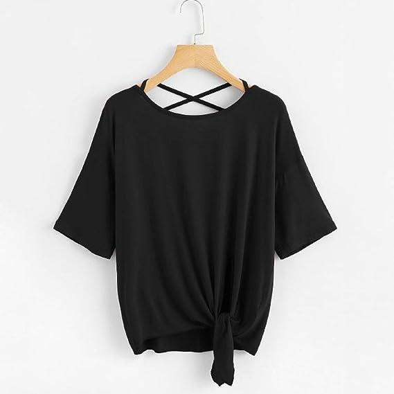 Womens T Shirt, Summer ANJUNIE Solid Crisscross Back Knot ...